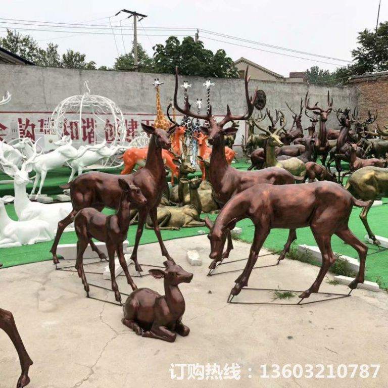 玻璃钢仿铜鹿雕塑,庭院小鹿雕塑6